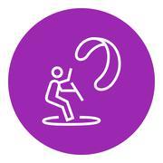 Kite surfing line icon Stock Illustration