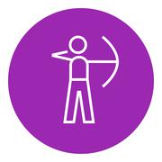 Archer training with bow line icon - stock illustration