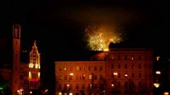 Firework in Prague, Hogmany Stock Footage