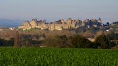 Carcassonne, old medieval town in southern France Stock Footage