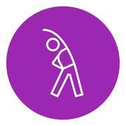 Man making exercises line icon Stock Illustration