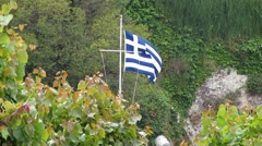 Flag of Greece waving in the wind Stock Footage