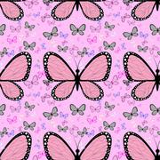 Seamless spring with lots of beautiful butterflies. Suitable for wrapping pap Stock Illustration