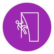 Rock climber line icon Stock Illustration