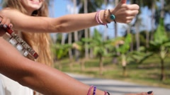 Travel Boho Hipster Women Hitchhike on Road Stock Footage