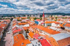 View on roofs in Kosice from St. Elisabeth cathedral Stock Photos