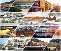 Collage of winter and attractions in Bergen Stock Photos