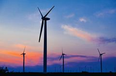 Green energy feeld wind turbines Stock Photos