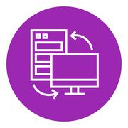 Stock Illustration of Personal computer set line icon