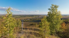 Panoramic shot of Russian nature from a hill Stock Footage