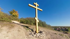 Panoramic shot from Bald Mountain in Samara, Russia including christian cross Stock Footage