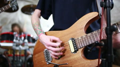 Musician rehearsing on a electric guitar Stock Footage