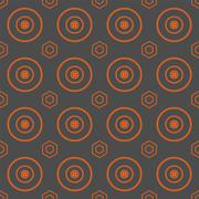 Seamless Colorful Pattern Created from Circles and Hexagons Stock Illustration