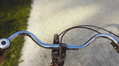 POV Riding a bicycle throught forest Stock Footage