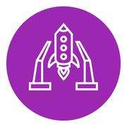 Space shuttle on take-off area line icon Stock Illustration