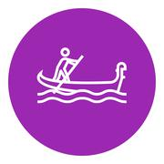 Sailor rowing boat line icon Piirros