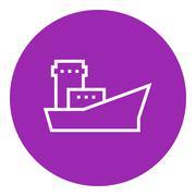Cargo container ship line icon - stock illustration
