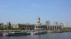 Tianjin railway station with clear blue sky. Stock Footage