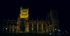 Bristol Cathedral Lit up at Night Stock Footage