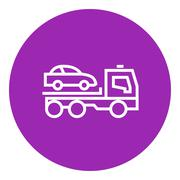 Car towing truck line icon Stock Illustration