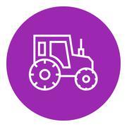 Tractor line icon - stock illustration