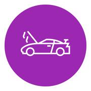 Broken car with open hood line icon Stock Illustration