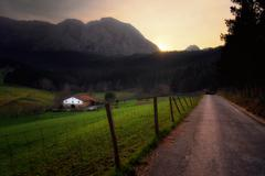 Country road in Axpe Stock Photos