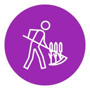 Man mowing grass with scythe line icon Stock Illustration