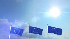 Euro Europe Flag Waving Eurozone EU European Union 4k Stock Footage