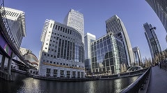 Time lapse view of the Docklands in London - stock footage