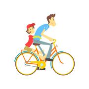 Father And Son On Bicycle - stock illustration
