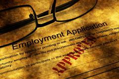 Employment application grunge concept Stock Illustration
