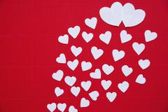 Hearts made of paper  for Valentine's day - stock photo