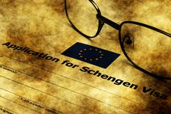 Application for schengen visa grunge concept - stock illustration