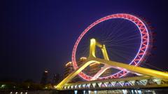 Tianjin ferris wheel,Tianjin eye with dark blue background. Stock Footage