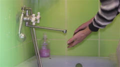 Wash hands dirty In The Bathroom Stock Footage