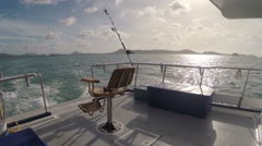 Ocean View From the Stern of the Boat For Sea Fishing, Panorama of the Stock Footage