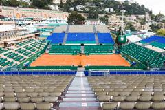 Clay tennis court prepared for the Monte-Carlo Rolex Masters Stock Photos