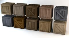Plain Wooden Crates Pack - 3D model