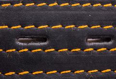 leather belt closeup background texture - stock photo