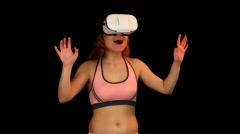 Young woman amazed, first time using virtual reality headset - stock footage