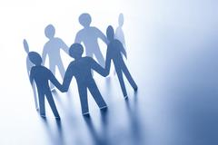 Paper people standing together in circle. Team, business teamwork, global con Stock Photos