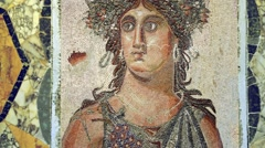 Animated Roman Mosaic Woman With Wings Stock Footage