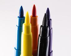 Felt-tip pens on a white background Stock Photos