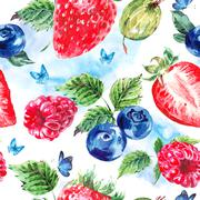 Set of watercolor fruit on a white background Stock Illustration