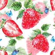 Watercolor strawberry seamless background - stock illustration