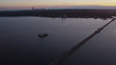 Aerial shot of floating bridge, Seattle, Washington Stock Footage
