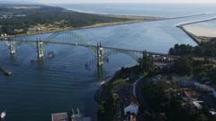 Yaquina Bay Bridge, Newport, Oregon Stock Footage
