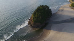 Aerial shot of Proposal Rock, Oregon Coast - stock footage