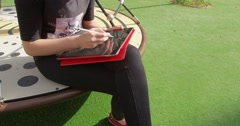 Girl draws on the tablet. Stock Footage